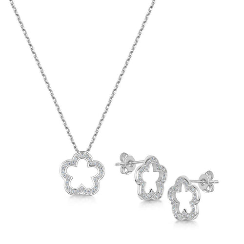 Rhodium Plated Zara Pendant & Earring Set