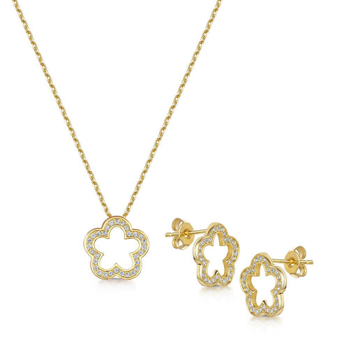 Yellow Gold Plated Zara Pendant & Earring Set