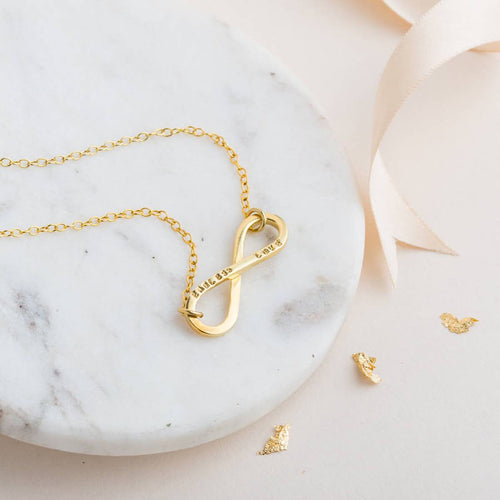 Yellow Gold Plated Personalised Infinity Necklace