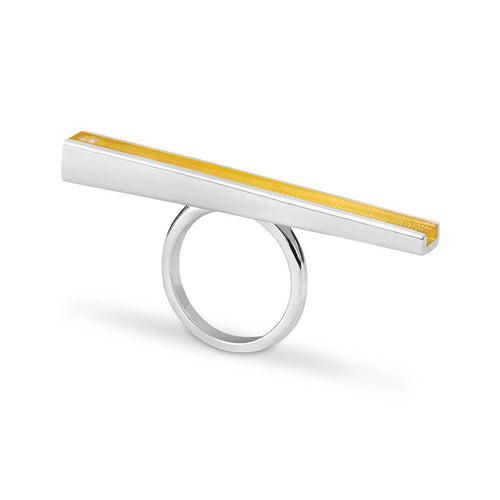 Silver Iris Ring With Lemon Resin ,[product vendor],JewelStreet