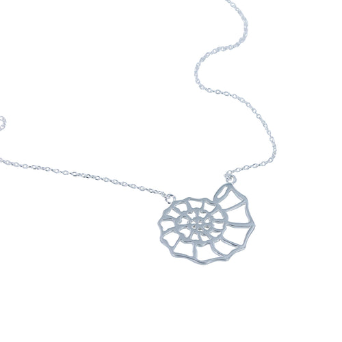 Sterling Silver Ammonite Silhouette Necklace ,[product vendor],JewelStreet