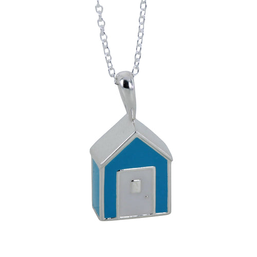 Sterling Silver & Enamel Blue Beach Hut Necklace ,[product vendor],JewelStreet