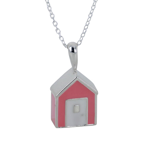 Sterling Silver & Enamel Pink Beach Hut Necklace ,[product vendor],JewelStreet
