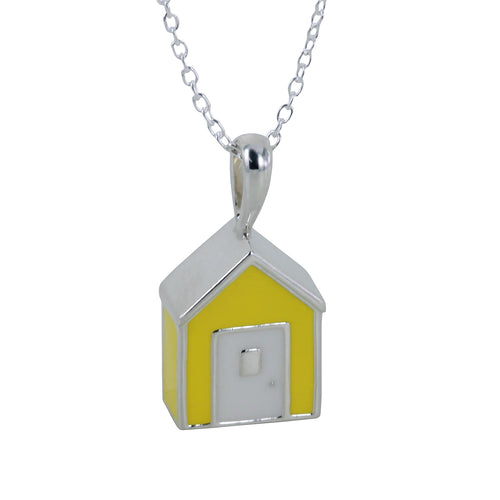 Sterling Silver & Enamel Yellow Beach Hut Necklace ,[product vendor],JewelStreet