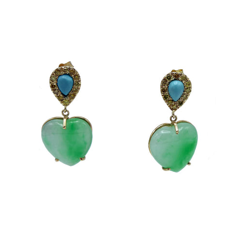 18kt Yellow Gold Jade Heart & Turquoise Earrings ,[product vendor],JewelStreet