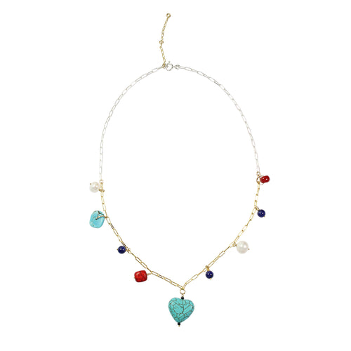22kt Gold & Sterling Silver Multi Trinket Turquoise Heart Necklace ,[product vendor],JewelStreet