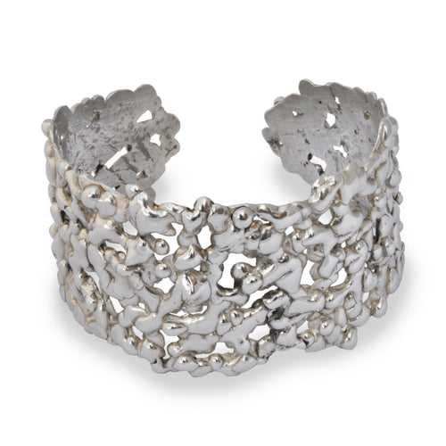 Sterling Silver Honeycomb Molten Cuff ,[product vendor],JewelStreet
