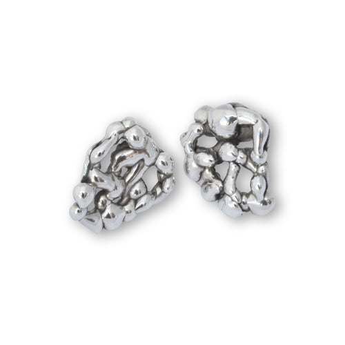 Sterling Silver Honeycomb Molten Earrings ,[product vendor],JewelStreet