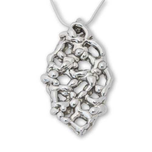 Sterling Silver Honeycomb Molten Pendant Necklace ,[product vendor],JewelStreet