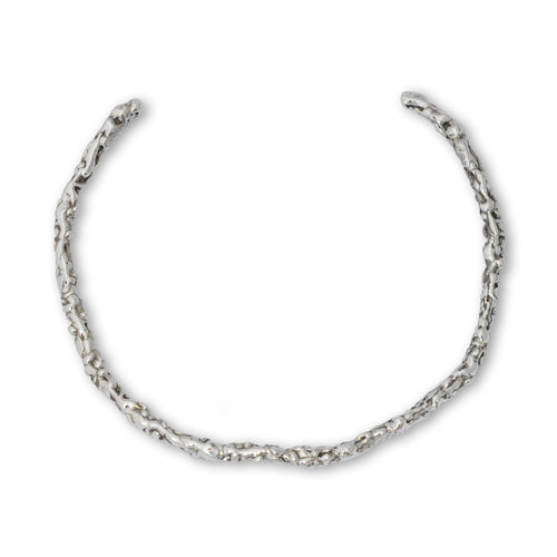 Sterling Silver Molten Neck Torc ,[product vendor],JewelStreet