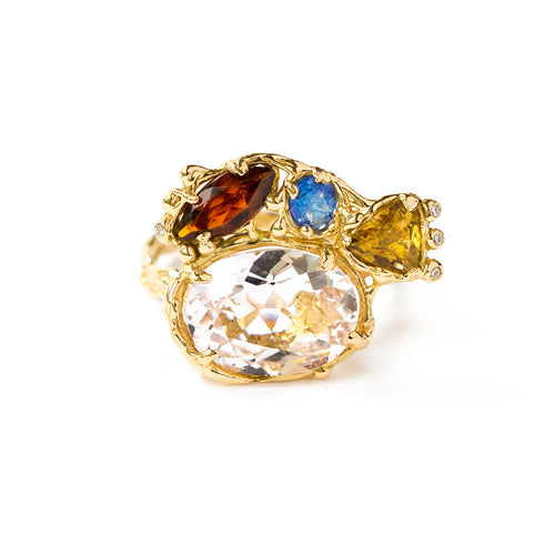 18kt White Gold Multicolour Ring With Mixed Gemstones ,[product vendor],JewelStreet
