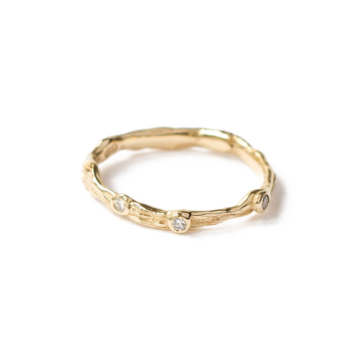 9kt Yellow Gold Twig Ring With White Diamonds
