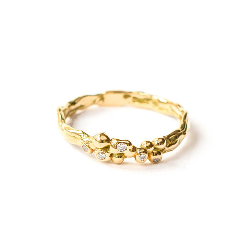 18kt Yellow Gold Band With White Diamonds ,[product vendor],JewelStreet