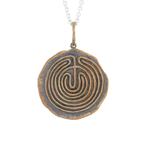 Bronze Walking A Path Of Purpose Medallion Necklace
