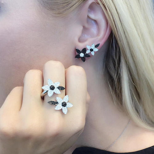 Sterling Silver & Platinum Black-and-White Double-Flower Ear Climbers