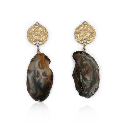 14kt Gold Plated Lokel Earrings in Charcoal Tones ,[product vendor],JewelStreet