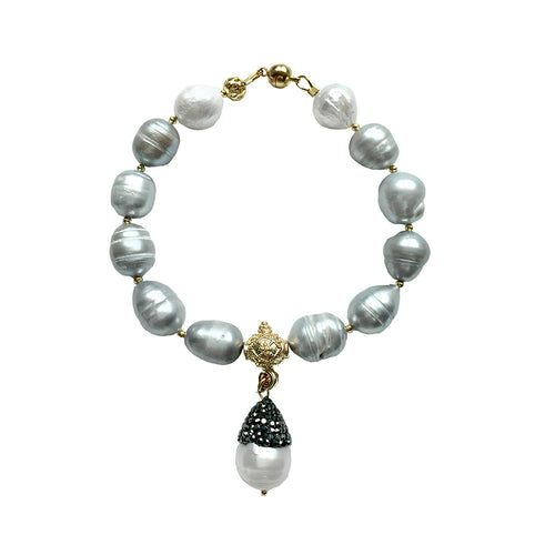 Grey Freshwater Pearl Bracelet With Pendant ,[product vendor],JewelStreet