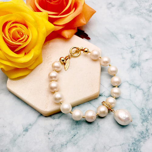 White Round Freshwater Pearls With Open & Close Charm Bracelet  ,[product vendor],JewelStreet