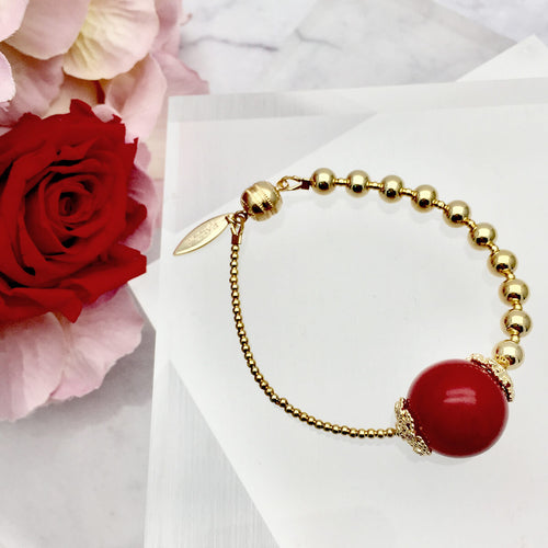 Red Bamboo Gold Plated Brass Bracelet ,[product vendor],JewelStreet