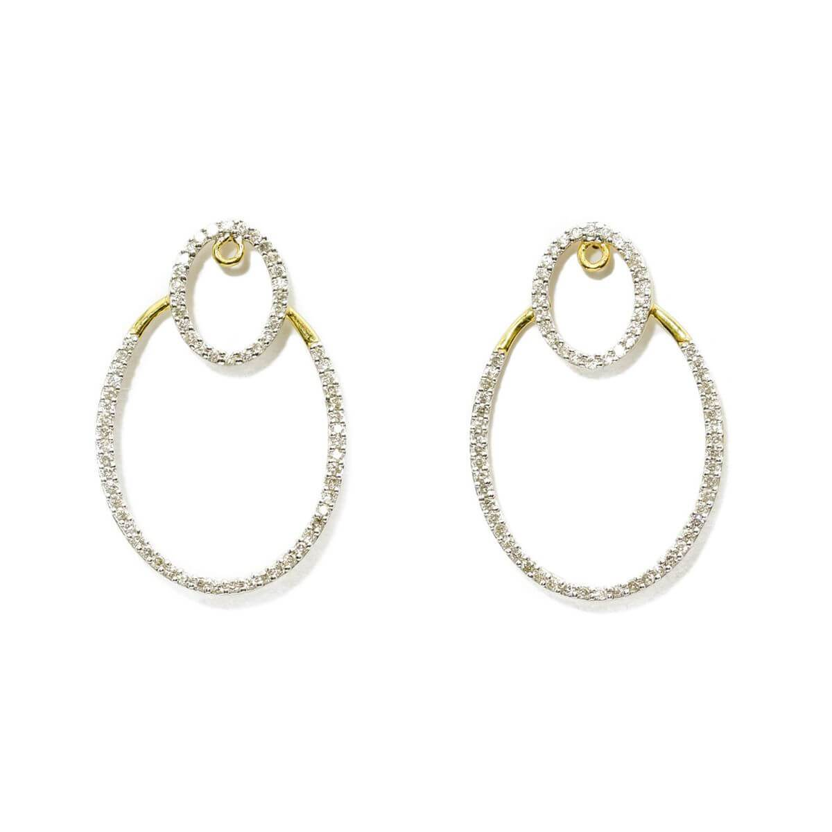 Yellow Gold Double Hoop Diamond Earrings