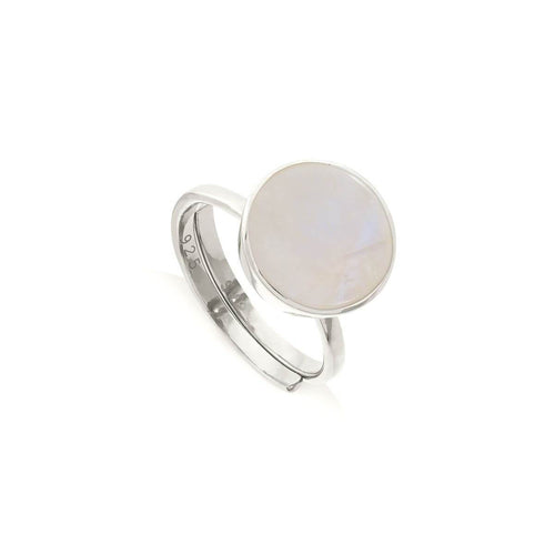 Moondance Rainbow Moonstone Sterling Silver Adjustable Ring