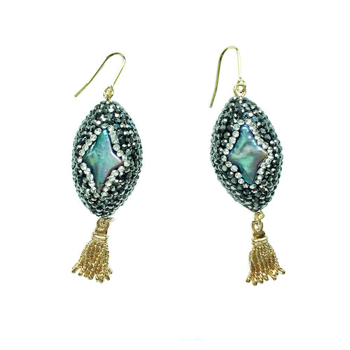 Rhinestone Bordered Pearl Earrings ,[product vendor],JewelStreet