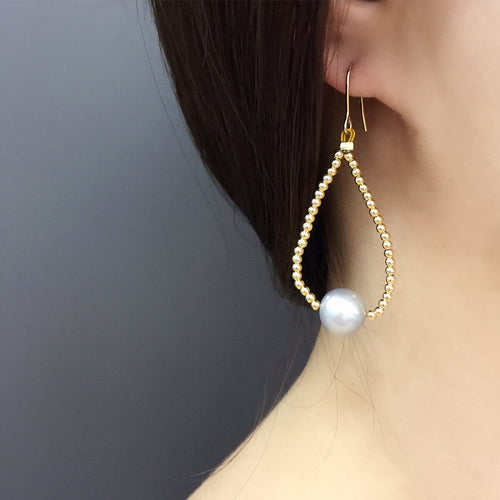 Grey Freshwater Pearl Drop Earrings ,[product vendor],JewelStreet