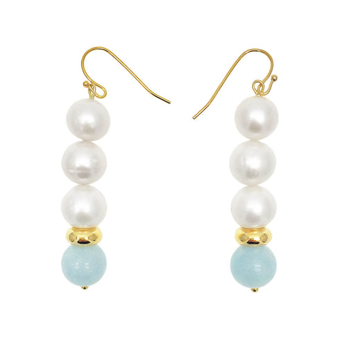 Round Freshwater Pearl & Aquamarine Earrings ,[product vendor],JewelStreet