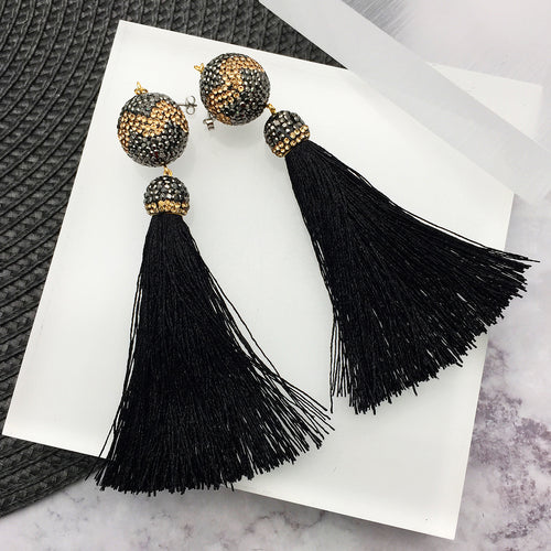 Black & Gold Rhinestone Tassels Earrings ,[product vendor],JewelStreet
