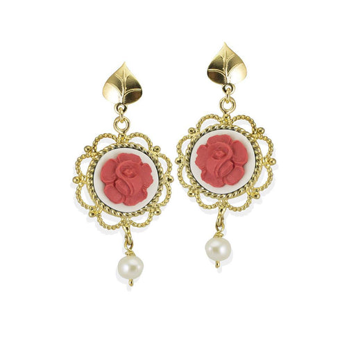 Mediterraneo Primavera Cameo Earrings - Gold Plated