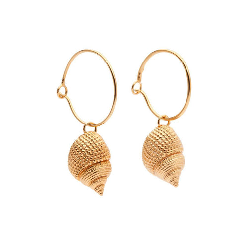 Yellow Gold Plated Oceania Whelk Hoops
