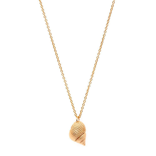 Yellow Gold Plated Oceania Whelk Necklace