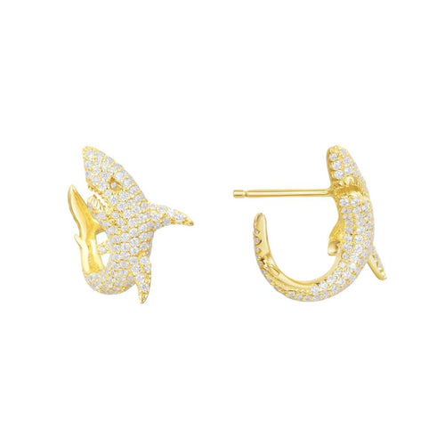 Gold Vermeil Mini Shark Earrings