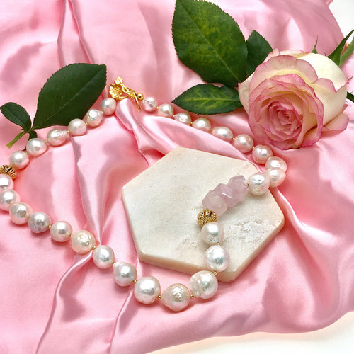 Freshwater Pearl & Rose Quartz Short Necklace ,[product vendor],JewelStreet