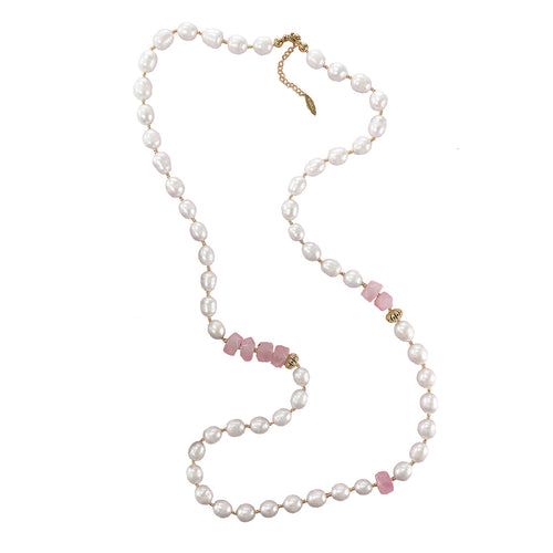 Freshwater Pearl & Rose Quartz Multi-Way Necklace ,[product vendor],JewelStreet