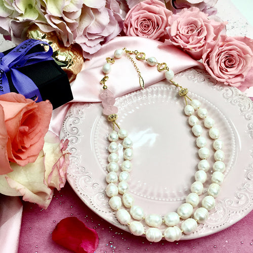 Rose Quartz & Freshwater Pearl Double Strand Necklace ,[product vendor],JewelStreet