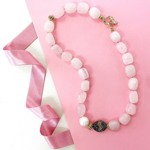 Rose Quartz & Pearl Short Necklace ,[product vendor],JewelStreet