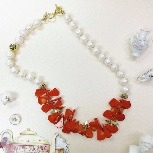 Red Floral Coral Statement Necklace With Freshwater Pearl Nuggets