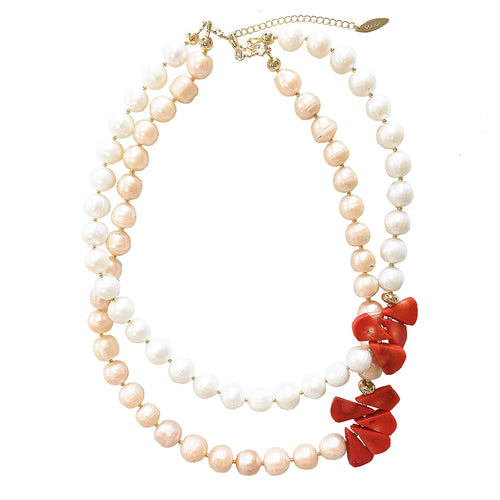Light Orange & White Freshwater Pearl Floral Coral Double Strand Necklace ,[product vendor],JewelStreet