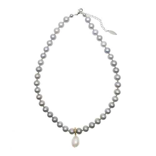 Grey Ground Freshwater Pearls With Open & Close Pendant Necklace ,[product vendor],JewelStreet