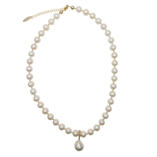 White Round Freshwater Pearls With Open & Close Pendant Necklace ,[product vendor],JewelStreet