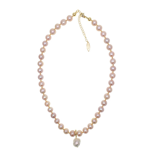 Light Orange Round Freshwater Pearl Choker With Pendant ,[product vendor],JewelStreet