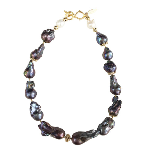 Deep Purple Freshwater Baroque Pearls Choker Necklace ,[product vendor],JewelStreet