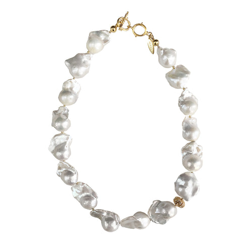 White Freshwater Baroque Pearls Choker Necklace ,[product vendor],JewelStreet