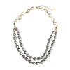 Grey & White Freshwater Double Strand Necklace ,[product vendor],JewelStreet