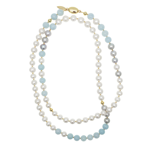 Round Freshwater Pearl Aquamarine Long Necklace ,[product vendor],JewelStreet