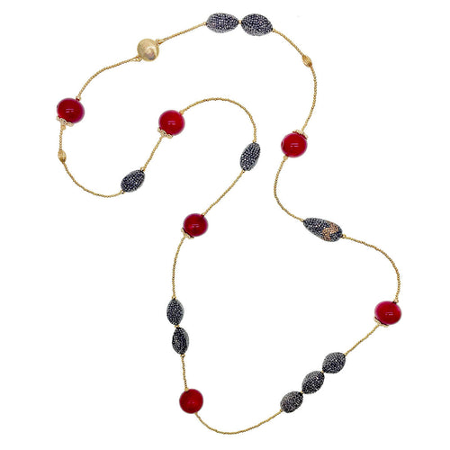 Red Bamboo Coral & Rhinestone Multi-Way Necklace ,[product vendor],JewelStreet