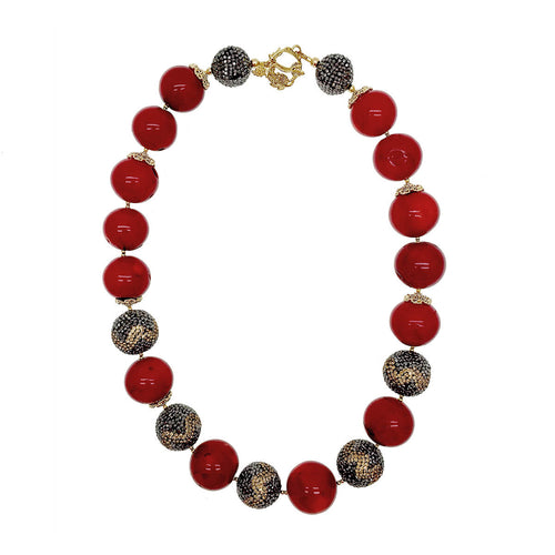 Red Bamboo Coral & Rhinestone Choker ,[product vendor],JewelStreet