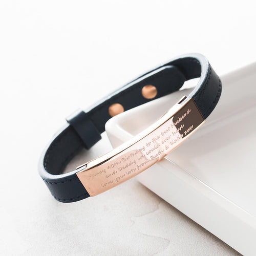 Personalised Men's Rose Gold Adjustable Bracelet | Under the Rose