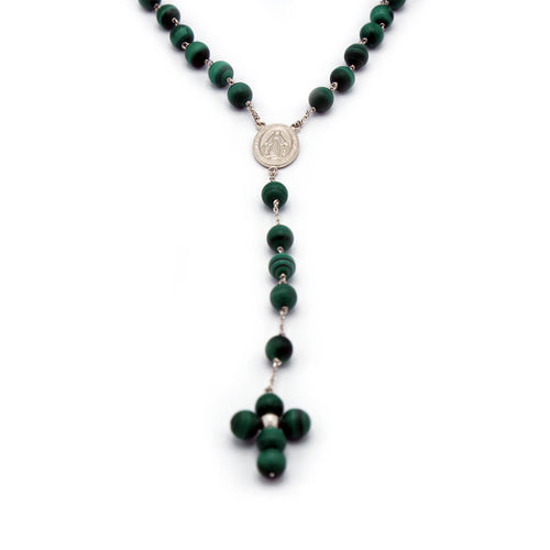 Rhodium Plated Malachite Rosary Necklace ,[product vendor],JewelStreet